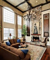 Tuscan Wall Decor Ideas by High Ceiling Tuscan Living Room Ideas White Gold Table On Rug