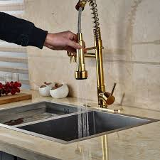 Bathtub Spout Cover Plate by Cornet Gold Finish Kitchen Sink Faucet With Dual Spouts U0026 Cover