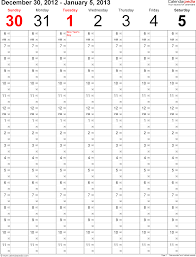Template 3 Weekly Calendar 2013 Portrait Time Management Layout