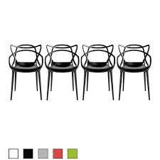 2xhome Set Of 4 Modern Contemporary Plastic Stackable Design Masters Chair Dining Arm Chairs Outdoor Living