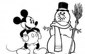 Mickey Mouse Feels Happy To Make A Great Snowman Disney Christmas Coloring Pages