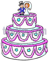 A color drawing of a three layered white wedding cake with lavender trim and a bride and groom figurines on the top