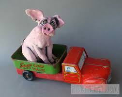 Pink Pig In Dump Truck Sculpture - Joy Ride - Rudkin Studio