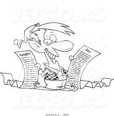 Vector Of A Cartoon Christmas Elf Holding Naughty And Nice Lists