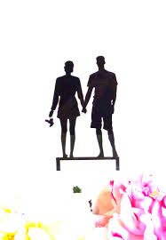 SURFER BEACH COUPLE Silhouette Wedding Cake Topper Surfer Tropical