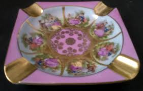 Daher Decorated Ware Tray 1971 by Vintage J K W Decor Carlsbad Bavaria Pink U0026 Gold Ashtray