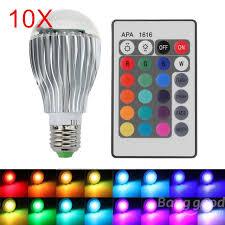 10pcs e27 15w rgb led bulb remote color changing led wall