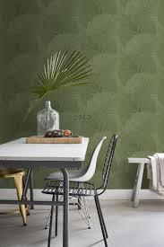 esszimmer tapete große blätter olivgrün 138995