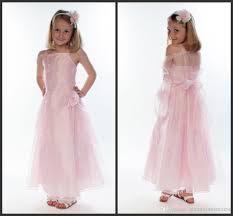 2014 beautiful pink organza long length junior bridesmaid dresses