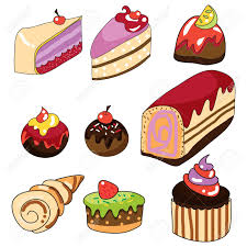 pastries hand draw cartoon illustration Stock Vector