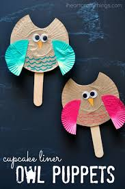 Cupcake Liner Owl Puppet Kids Craft