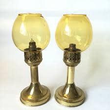 Glass Candlestick Buffet Lamps by Candle Lamps With Amber Glass Shades Brass Candlesticks Candle