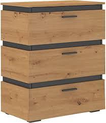 mirjan24 kommode faro 3s fa20 mit 3 schubladen anrichte mehrzweckschrank schubladenschrank sideboard highboard wohnzimmer eiche artisan eiche