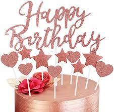 geburtstag tortendeko rosegold happy birthday cake topper herze sterne kuchen topper rosa gold cupcake tortenstecker für kinder mädchen frauen
