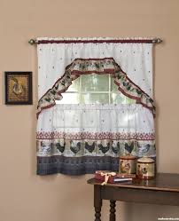 Rooster Curtain Decor Idea Kitchen Provence Curtains Tier And Swag Set