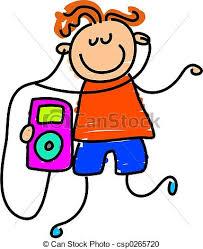 Ipod kid Little boy listening to his ipod toddler art stock