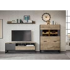 places of style wohnzimmer set malthe 3 tlg im trendigen design 1 kleine vitrine 1 lowboard 1 wandboard