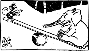 Black And White Cartoon Monkey Seesaw Visual Arts