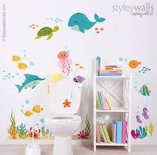 unter dem meer wandtattoo kinder badezimmer wandaufkleber fische wandaufkleber ozean wandaufkleber meer leben wandaufkleber aquarium