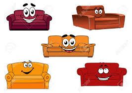 bunte comic sofas sofas oder liegen zeichen für interieur design elemente mit glücklichen gesichtern vektor illustration