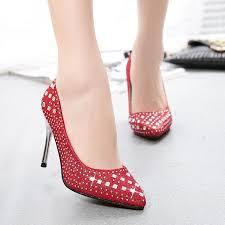 bridal wedding crystal shoes with very high heels
