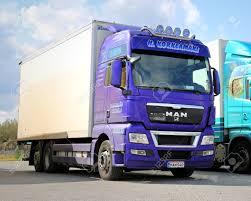 100 Top Trucks Of 2014 NAANTALI FINLAND AUGUST 10 Purple MAN Truck On A Yard
