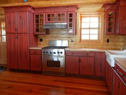 Cabinet Rustic Red Kitchen Cabinets