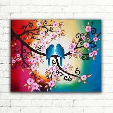 Colorful Modern Large Wall Art Love Birds In Tree Of Life Canvas Painting