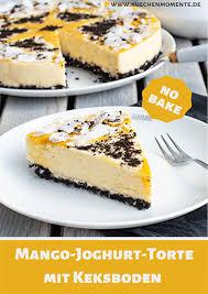 no bake mango joghurt torte mit kokos und schoko keks boden