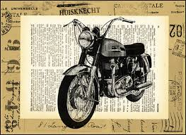 Harley Davidson Motorcycle Illustration Print Art Poster Drawing Gift Collage Mixed Media Old Dictionary Page
