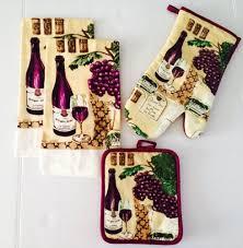 Wine Themed Kitchen Set by Wine Themed Kitchen Linen Set 4 Pc Towels Oven Mitt Potholder