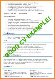 Good Cv Examples For First Job 7 Full Including