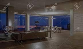 geräumiges wohnzimmer mit essbereich in einem modernen haus mit großen fenstern und schöner aussicht auf die nacht 3d rendering