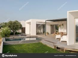 100 Modernhouse Modern House Garden Swimming Pool Wooden Deck Stock Photo