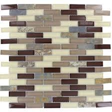 Rolling Hills Brick 12 in x 12 in x 6 mm Glass Stone Mesh