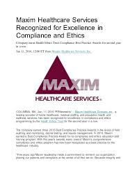 Maxim Healthcare Services Recognized for Excellence in pliance and…