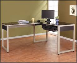 Computer Desk L Shaped Glass by Modern L Shaped Computer Desk In Metal Frame With Black Glass Top