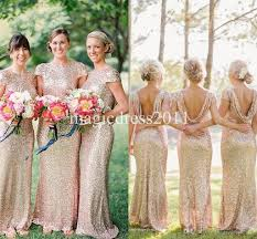 2015 gold sequin bridesmaid dress long rose gold maid of honor