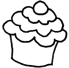 Cupcake black and white cupcake outline 7 clip art