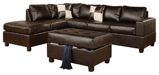 Poundex 3pc Sectional Sofa Set by Poundex F7351 Espresso Bonded Leather Living Room Sectional Sofa