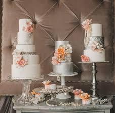 Elegant Dessert Table Peach Silver