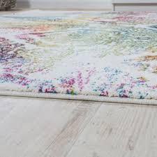 paco home teppich modern leinwand optik teppich floral