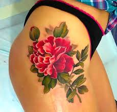 Peony Flower On Hip For Women Tattoo Idea