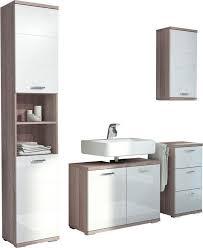 homexperts badmöbel set nusa 4 tlg aus hochschrank waschbeckenunterschrank hängeschrank und unterschrank badezimmerschrank mit metallgriffen