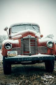 1940s Red International Truck In Snow. Every Vehicle Has A Story To ...