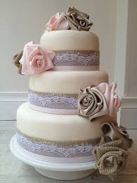 3 Tier Ivory Wedding Cake With Burlap Lace And Grosgrain Ribbon Bands Rose Shaped