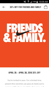 Nike Factory Stores Friends And Family 30% Off 4.26 - 4.30 ...