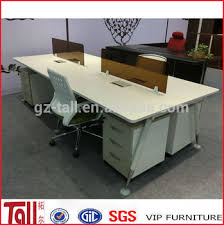 Open Acrylic Office Workstation Desk Steel Furniture 4 Person Two Sided