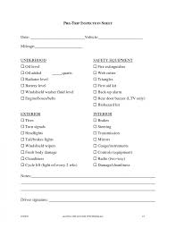 100 Truck Pre Trip Inspection Checklist Cdl Form