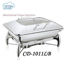 Luxurious Chafing Dish Set Buffet Restaurant Mechanical Hinge Induction Food Warmer Slap Up Material With